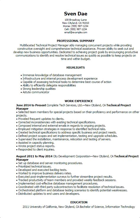 technical project manager resume format 1 technical project manager resume templates try them now myperfectresume