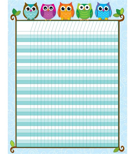 printable incentive charts for school colorful owls incentive chart grade pk 8
