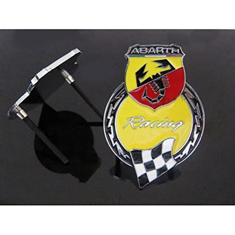 Abarth Badge Benzee B067 Yellow Car Chromed Grille Emblem Badge Decal