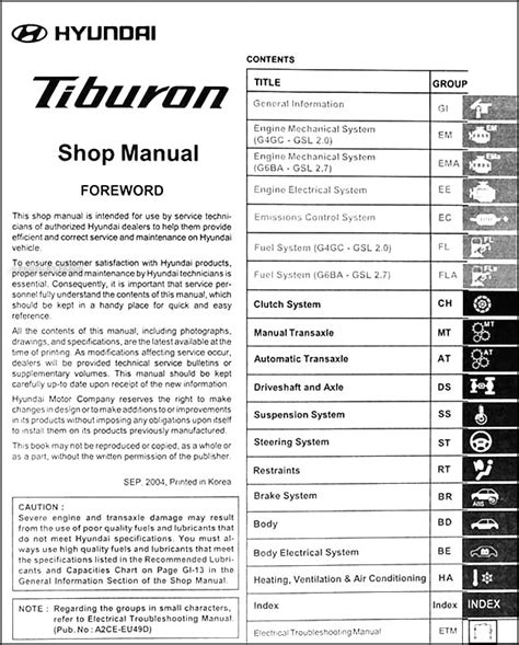 auto repair manual online 2005 hyundai tiburon engine control 2005 hyundai tiburon repair shop manual original 2 vol set