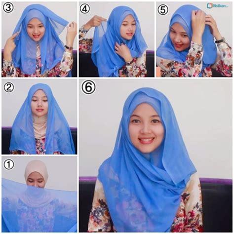 tutorial hijab segi empat paris simple  modis terbaru