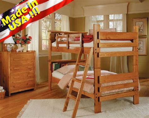 Bunk Bed With Shelf Headboard by Roundhill Furniture Solid Wood Convertible Bunk Bed With
