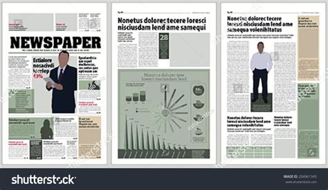 newspaper layout infographic graphical design newspaper template infographic stock