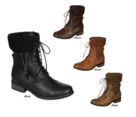 knit cuff boots new combat knit cuff lace up flat low