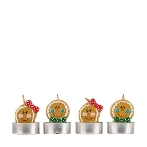 christmas figurine gingerbread tea light candles