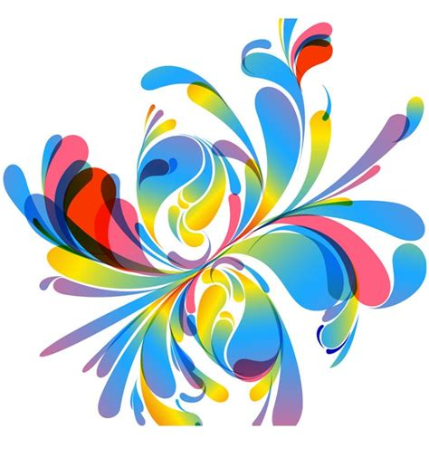 colorful designer abstract vector colorful floral design illustration free