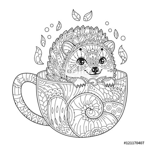 quot hedgehog in cup antistress coloring page with