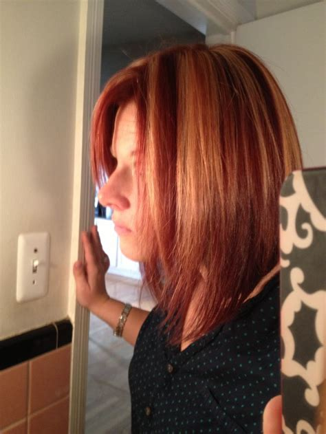 chunky layered bob hairstyles chunky bobs long layered bob red with blonde chunky