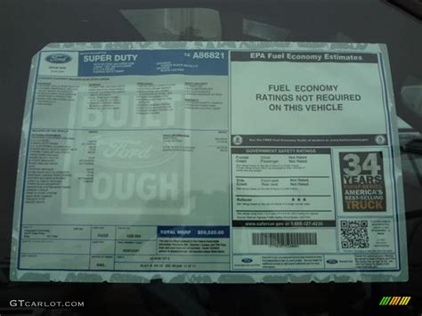 Ford Window Sticker by 2012 Ford F250 Duty Lariat Crew Cab 4x4 Window
