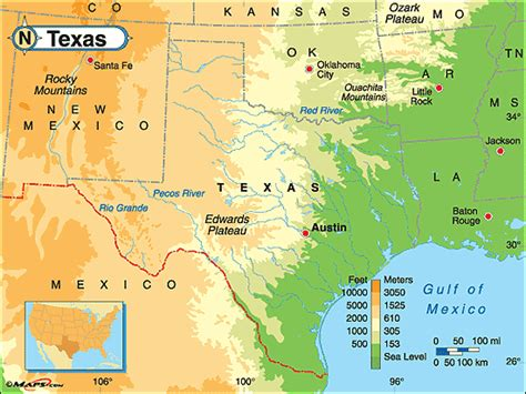 map of texas landforms texas physical map by maps from maps world s largest map store