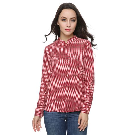 shirt pattern long sleeve women red print pattern blouses stand collar long sleeve