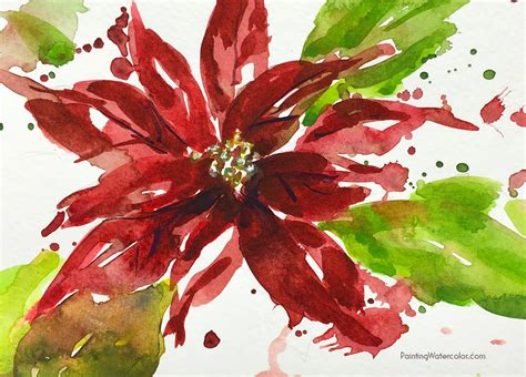 watercolor tutorial christmas 12 days of christmas cards poinsettia watercolor painting