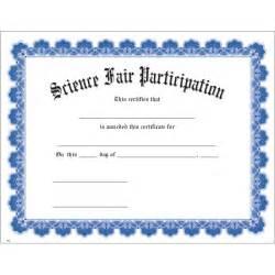 Science Fair Participation Certificate Template by Science Fair Participation Blue Uw Certificate Jones