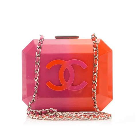 Chanel Mini Permata 16cm Purple chanel pink and orange box bag at 1stdibs