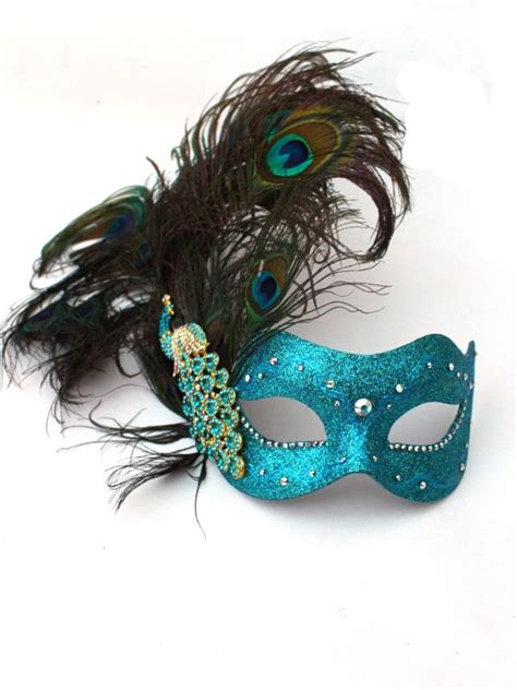 Colour Match Paint by Luxury Swarovski Crystal Peacock Feather Masked Ball Mask