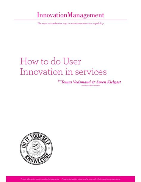 Innovation Mba Jefferson What Does It Cost by How To Do User Innovation In Services