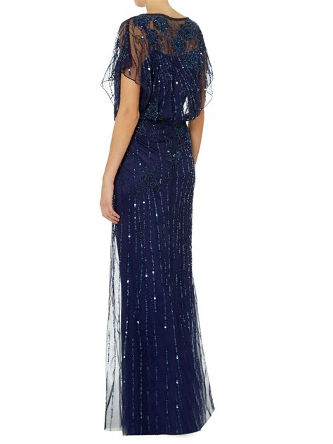 js collection beaded gown js collections all beaded gown with bat wing sleeves