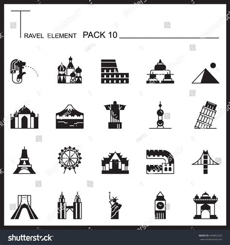 shutterstock design elements and layout vector pack travel element graph icon set 10landmark stock vector