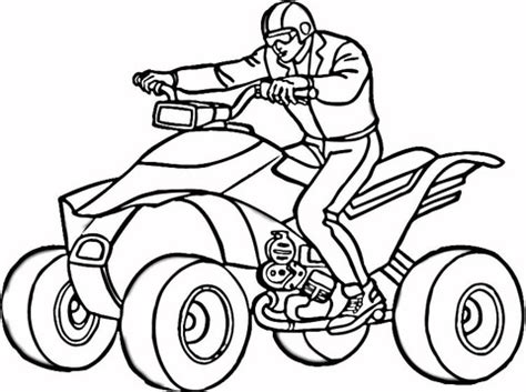 Man On Atv Coloring Page Supercoloring Com Four Wheeler Coloring Pages