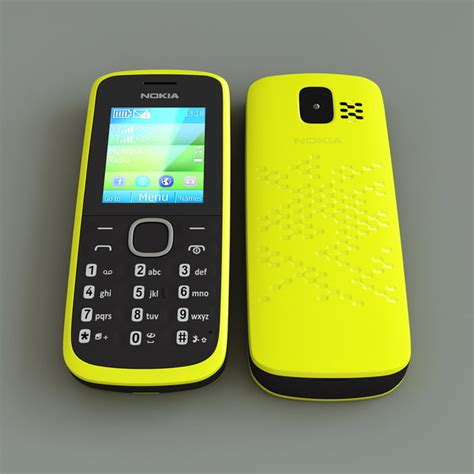3d themes nokia 110 3d model yellow nokia 110 cellphone