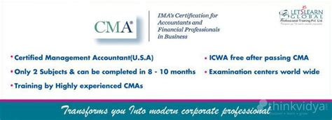 Pre Mba Programs In Usa by Cma U S A Certified Management Accountant In Hyderabad