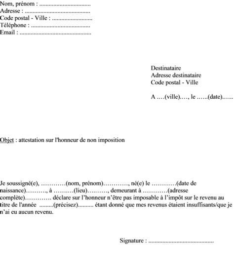 Attestation De Non Imposition Modèle N 4169 attestation sur l honneur archives