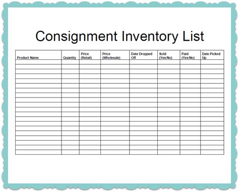 Consignment Inventory List Template Sle Helloalive Printable Inventory List Template