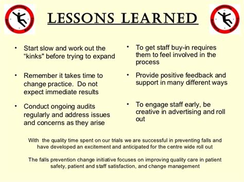 safety lessons learned template hourly rounding a falls prevention change initiative