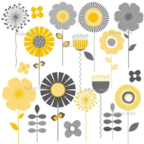 printable art gray and yellow yellow and gray mod flower clip art set printable digital