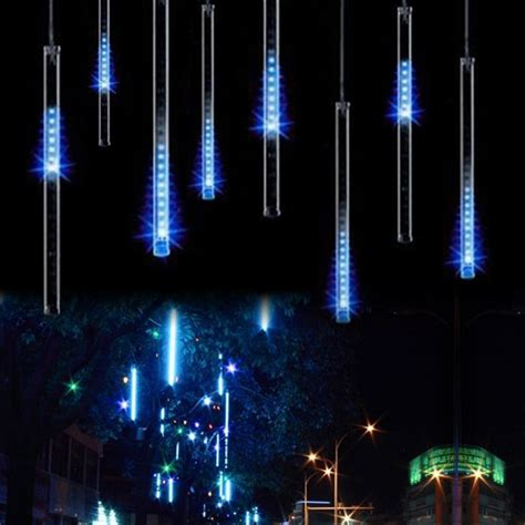 eu 8 drop icicle snow fall string led tree decoration cascading meteor