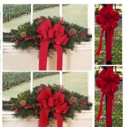 set of 2 christmas window swags with 2 bows cr4613