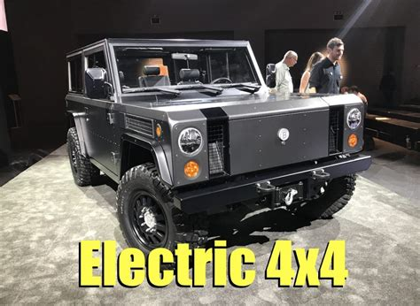 electric 4x4 vehicle bollinger b1 electric 4x4 airbags fording water