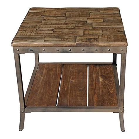 end sofa table rustic vintage wooden metal side end sofa table country