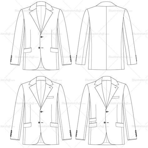 flat sketch template s traditional fit jacket fashion flat template