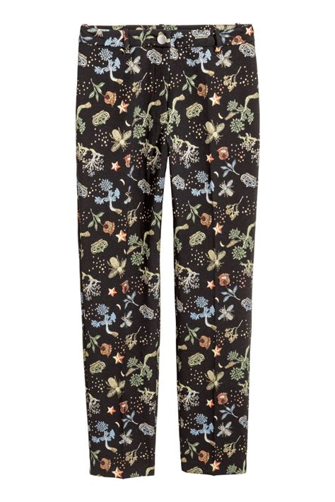 black patterned pants jacquard patterned pants black plants sale h m us