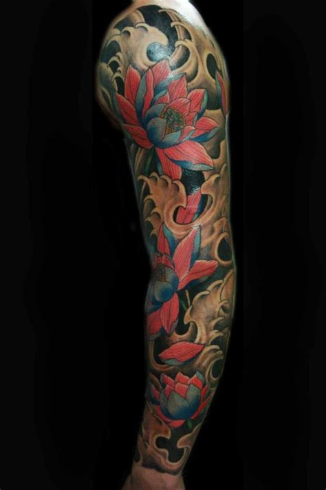 lotus quarter sleeve tattoo lotus sleeve tattoo picture at checkoutmyink com
