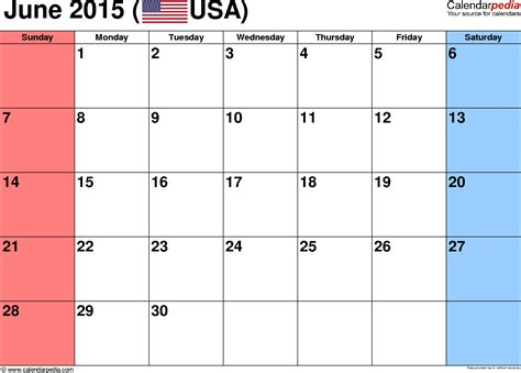 printable schedule june 2015 june 2015 calendars for word excel pdf