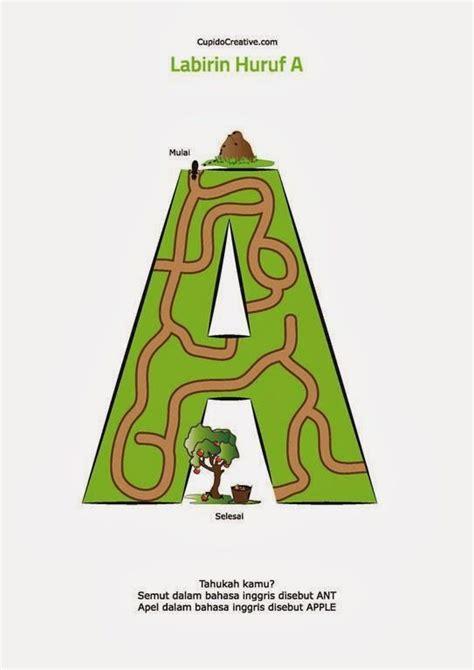 Maze Bentuk belajar baca huruf anak tk sd gambar labirin maze