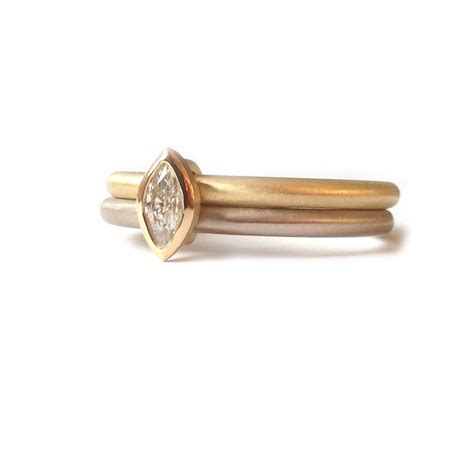 18k white and yellow gold 2 band engagement and wedding