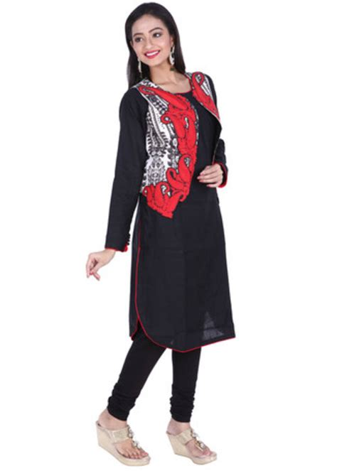jacket design kurti buy black embroidered pure linen cotton ready made kurti
