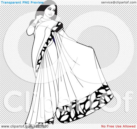 indian dress coloring page clipart of a black and white beautiful indian woman
