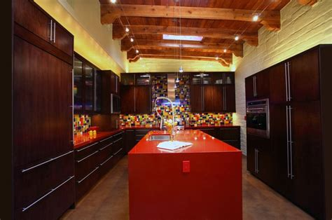 Red And Yellow Kitchen - kitchen blue green red amp yellow glass tile contemporary kitchen phoenix by mccaleb