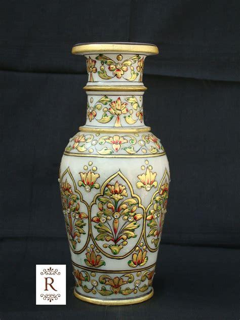 home decor handicrafts marble vases gold painted marble pot vase handicraft gold painting jaipur rajasthan