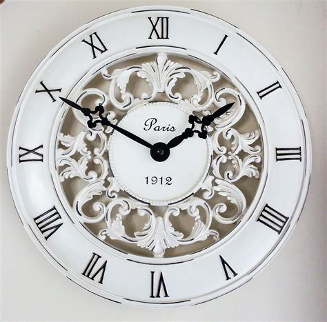 country kitchen clock french style wall clock floral decor vintage shabby chic ebay