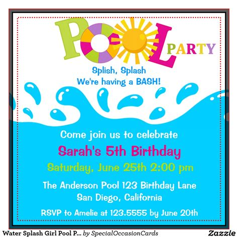 Come With Me Pool Invites by Birthday Pool Invitations Theruntime