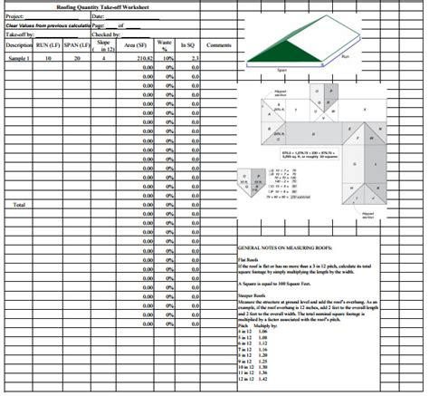 material takeoff template roofing estimate sheet how to estimate roofing cost