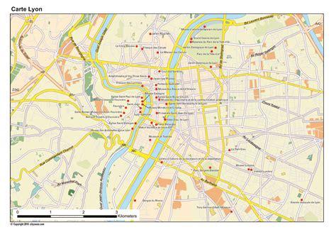 carte de lyon plan des  lieux  voir
