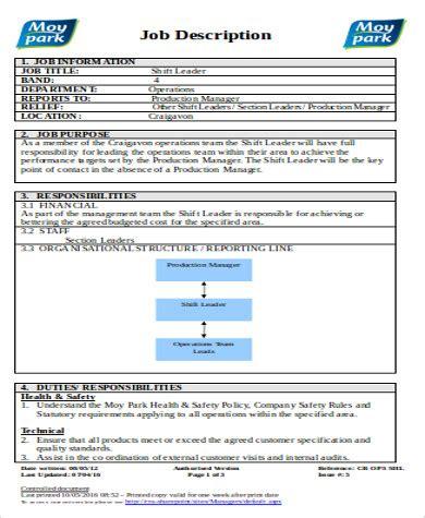 shift leader description 9 shift leader description sles sle templates