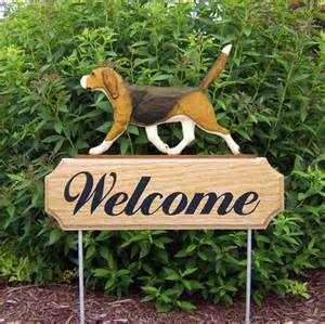 yard signs beagle welcome sign outdoor oak wood yard sign tri