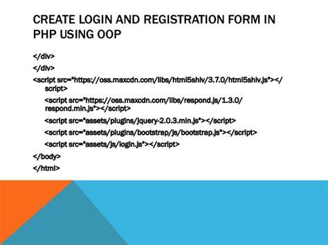 design form using div login and registration form using oop in php